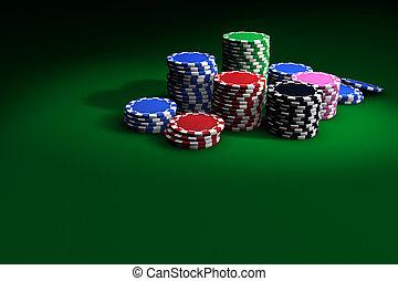 ポーカーチップ, 上に, 緑のテーブル