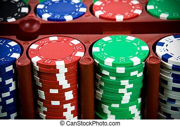 ポーカーチップ, 中に, a, 箱