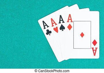 ポーカー, エース, カード, 上に, 緑, ギャンブルテーブル, 概念, の, ポーカー, ゲーム