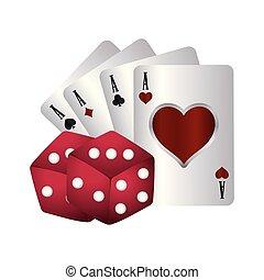 ポーカー, カジノ, スーツ, さいの目に切る, エース, カード