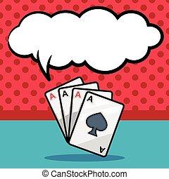ポーカー, カード, いたずら書き