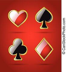 ポーカー, カード, スーツ, -, 現代, ベクトル, 隔離された, クリップアート