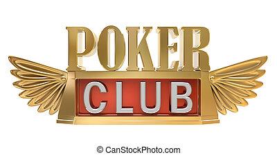 ポーカー, クラブ, -, 金, 紋章, 隔離された