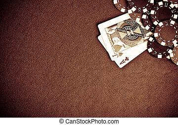 ポーカー, グランジ, -, 黒い背景, スタイルを作られる, チップ, 赤