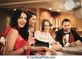 ポーカー, グループ, 人々, カジノ, 若い, 遊び