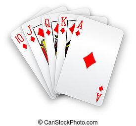 ポーカー, ストレートな高まり, 手, ダイヤモンド, カード