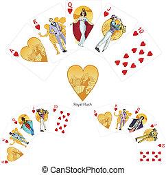 ポーカー, セット, 組合せ, 皇族, 勝利, 同じ高さに, 心, マフィア, カード