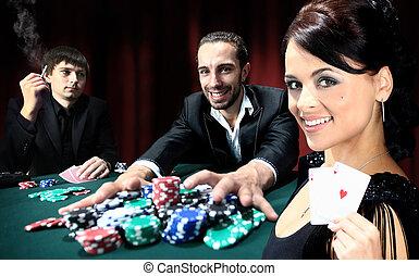 ポーカー, プレーヤー, モデル, のまわり, a, テーブル, ∥において∥, a, カジノ