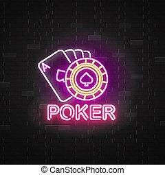 ポーカー, ルーレット, ネオン 印, カード, 遊び