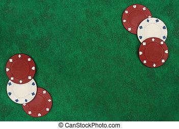 ポーカー, 上に, フェルト, space., i?ve, 緑, ギャンブル, イメージ, 得られた, コピー, チップ, もっと