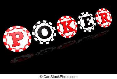ポーカー, 印, 上に, 黒