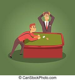 ポーカー, 壊れる, 相場師, クラブ, カジノ, イラスト, 漫画, 関係した, 夜, ギャンブル, 恐怖, テーブル, ディーラー, 銀行
