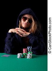 ポーカー, 女, 遊び