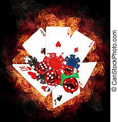 ポーカー, 暑い, 概念, ゲーム
