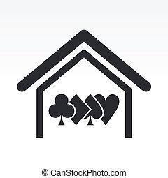 ポーカー, 概念, 家, イラスト, ベクトル, アイコン