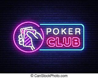 ポーカー, 看板, カジノ, カジノ, イラスト, 印, ネオン, 明るい, ベクトル, デザイン, ロゴ, 夜, advertising., ギャンブル, 要素, template., ネオン