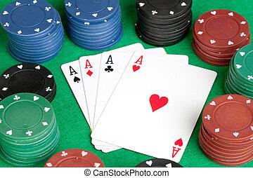 ポーカー, 積み重ねられた, 多数, 4, 色, エース, チップ