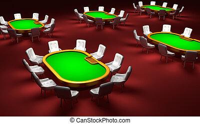ポーカー, 部屋, ポーカー, テーブル, ∥で∥, 椅子, 中に, ∥, 内部