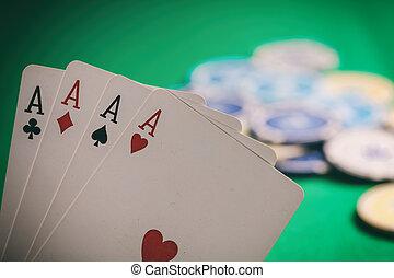 ポーカー, concept., フェルト, カジノ, 4, 緑, ぼやけ, エース, 賭けることは 欠ける