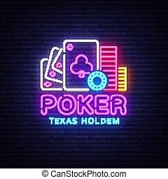 ポーカー, holdem, 看板, カジノ, カジノ, 印, ネオン, 明るい, ベクトル, デザイン, ロゴ, 夜, advertising., ギャンブル, テキサス, 要素, template., ネオン