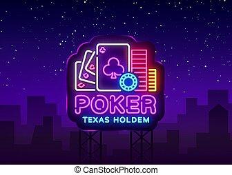 ポーカー, holdem, advertising., 看板, カジノ, カジノ, 印, ネオン, 明るい, ベクトル, デザイン, ロゴ, vector., 夜, 広告板, ギャンブル, テキサス, 要素, template., ネオン