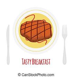 ポーク, スライス, 肉, 牛肉, ステーキ, 焼かれた, 揚げられている, breakfast.