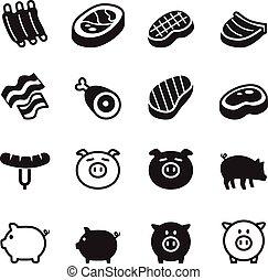 ポーク, セット, &, アイコン, イラスト, 豚, ベクトル