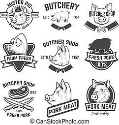 ポーク, セット, 肉, shop., heads., labels., 豚, デザイン, 肉屋, 要素