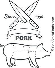 ポーク, 型, 肉屋, チョーク, ベクトル, メニュー, 切口