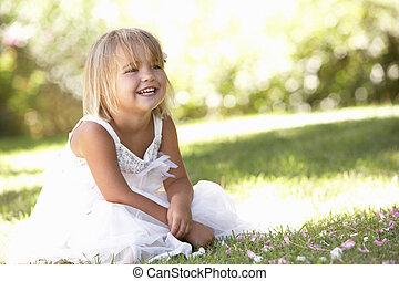 ポーズを取る, 女の子, 公園, 若い
