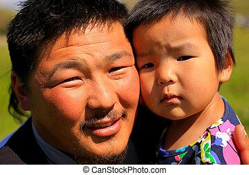 ポーズを取る, 彼の, 娘, mongolian, 人