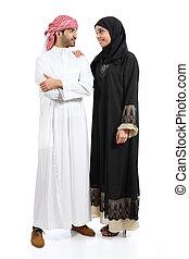 ポーズを取る, 恋人, 体, アラビア人, 一緒に, フルである, サウジアラビア人