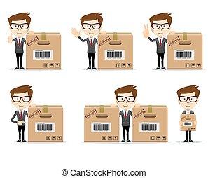 ポーズを取る, 様々, 面白い, オフィス, セット, プレゼンテーション, ∥など∥., 漫画, 使用, 労働者