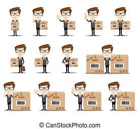 ポーズを取る, 様々, 面白い, プレゼンテーション, オフィス, セット, 漫画, 使用, 労働者