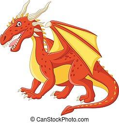 ポーズを取る, 漫画, 赤, ドラゴン