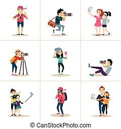ポーズを取る, 特徴, 創造的, ベクトル, カメラマン, デザイン, 写真を撮る, 間