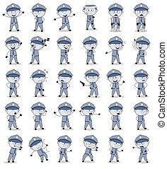ポーズを取る, 面白い, 概念, ベクトル, イラスト, 警官, -, セット, 警官, 漫画