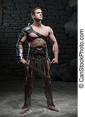 ポーズを取る, gladiator, 剣