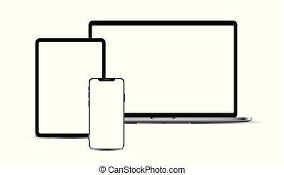 ポータブル, タブレット, devices:, セット, 電子, laptop., smartphone