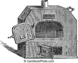 ポータブル, engraving., 型, オーブン