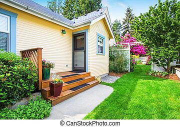 ポーチ, 家, 区域, 黄色, 小さい, 裏庭, 階段