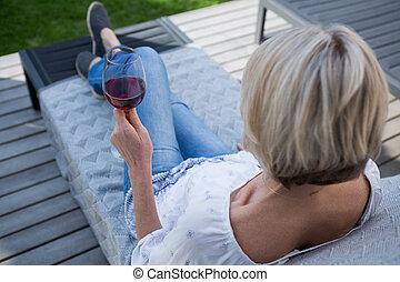 ポーチ, 持つこと, 女, ワイン