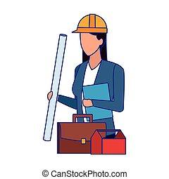 ポートフォリオ, デザイン, avatar, 道具箱, カラフルである, 女, エンジニア