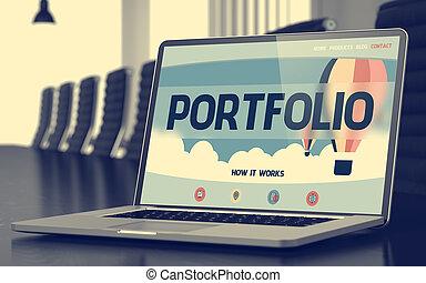 ポートフォリオ, ラップトップ, 概念, 3d., screen.