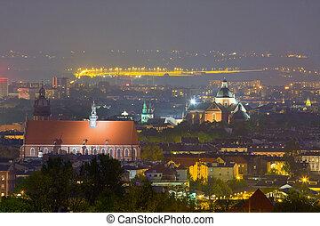 ポーランド, 夜, krakow, 現場