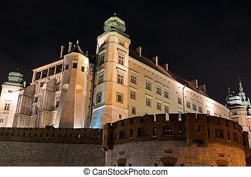ポーランド, 皇族, cracow, wawel, 夜, 光景