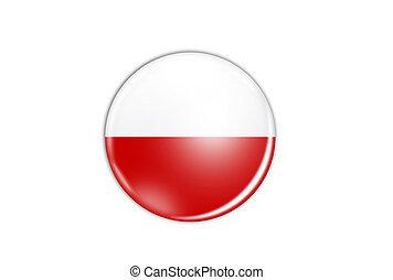 ポーランド, 隔離された, 旗, 背景, 白, アイコン