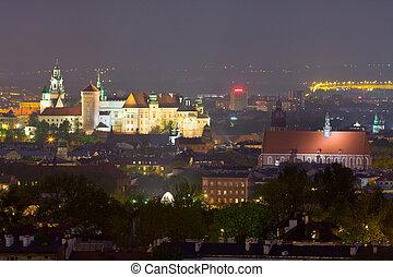 ポーランド, krakow, 現場, 夜