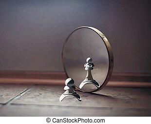 ポーン, 中に, ∥, 鏡