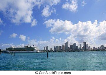 マイアミ, ダウンタウンに, 浜, 光景